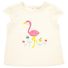 Buy John Lewis Baby's Short Sleeve Flamingo Applique Top, Cream Online at johnlewis.com