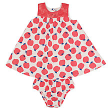 Buy John Lewis Baby's Apple Print Dress with Knickers, Pink/White Online at johnlewis.com