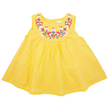 Buy John Lewis Flower Embroidered Top, Yellow Online at johnlewis.com