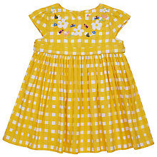 Buy John Lewis Baby's Check Embellished Dress, Yellow Online at johnlewis.com