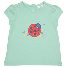 Buy John Lewis Baby's Ladybug Applique T-Shirt, Mint Green Online at johnlewis.com
