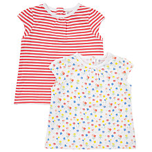 Buy John Lewis Baby Short Sleeve Stripe and Flower T-Shirt, Pack of 2, White/Multi Online at johnlewis.com