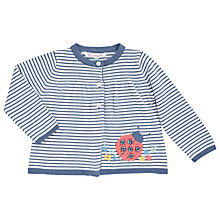 Buy John Lewis Baby's Ladybird Applique Cardigan, Cream/Blue Online at johnlewis.com
