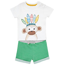 Buy John Lewis Baby's Monkey T-Shirt and Shorts Set, Green/White Online at johnlewis.com