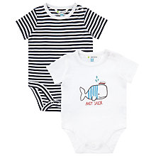 Buy John Lewis Baby's Whale Bodysuit, Pack of 2, Blue/White Online at johnlewis.com