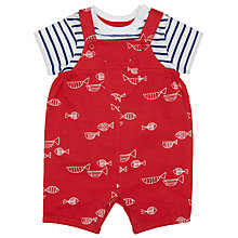 Buy John Lewis Baby's Fish Bibshort Set, Red Online at johnlewis.com