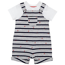 Buy John Lewis Baby's Anchor Dungarees & T-Shirt Pyjamas Set, Grey/Blue Online at johnlewis.com