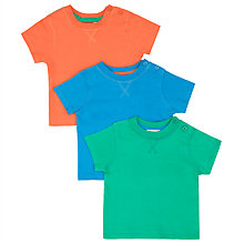 Buy John Lewis Baby Plain T-Shirt, Pack of 3, Multi Online at johnlewis.com