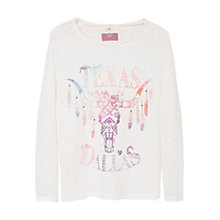 Buy Mango Kids Girls' Dallas Long Sleeve T-Shirt, White Online at johnlewis.com