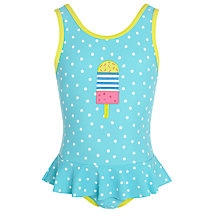 Buy John Lewis Girl Spot Ice Lolly Swimsuit, Turquoise Online at johnlewis.com