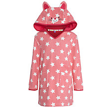 Buy John Lewis Girl Star Print Towelling Dress, Pink/White Online at johnlewis.com