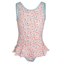 Buy John Lewis Girl Daisy Print Swimsuit, Pink/Blue Online at johnlewis.com