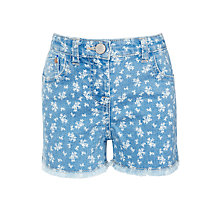 Buy John Lewis Girl Floral Denim Shorts, Blue Online at johnlewis.com