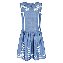 Buy John Lewis Girls' Denim Chambray Drop Waist Dress, Blue Online at johnlewis.com
