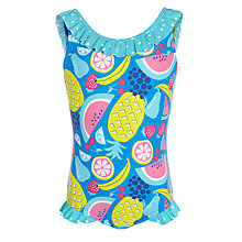 Buy John Lewis Girl Fruit Print Swimsuit, Blue/Multi Online at johnlewis.com