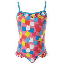 Buy John Lewis Girl Patterned Swimsuit, Red/Multi Online at johnlewis.com