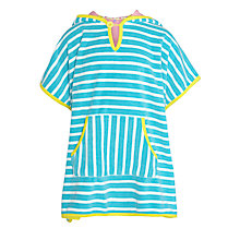 Buy John Lewis Girl Stripe Towelling Poncho, Blue/Yellow Online at johnlewis.com