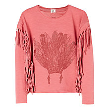 Buy Mango Kids Girls' Fringed Long Sleeve T-Shirt Online at johnlewis.com