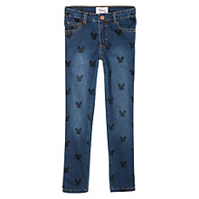 Buy Mango Kids Girls' Disney Mickey Mouse Print Skinny Jeans, Dark Blue Online at johnlewis.com