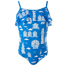 Buy John Lewis Girl Seaside Print Swimsuit, Blue Online at johnlewis.com