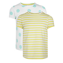 Buy John Lewis Girl Stripe & Spot T-Shirt, Pack of 2, Yellow/White Online at johnlewis.com