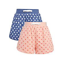Buy John Lewis Girl Jersey Spot Shorts, Pack of 2, Blue/Pink Online at johnlewis.com