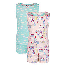 Buy John Lewis Girl Seaside & Cloud Print Pyjamas, Pack of 2, Pink/Aqua Online at johnlewis.com