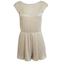 Buy Miss Selfridge Petite Shimmer Playsuit, Gold Online at johnlewis.com