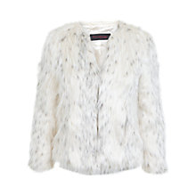 Buy Miss Selfridge Petite Faux Fur Coat, Cream Online at johnlewis.com