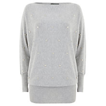 Buy Mint Velvet Stud Batwing Knit Top, Grey Online at johnlewis.com