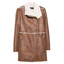 Buy Mango Faux Shearling Coat, Brown Online at johnlewis.com