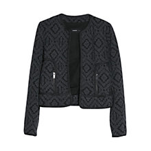 Buy Mango Ethnic Cotton Blend Jacket, Black Online at johnlewis.com