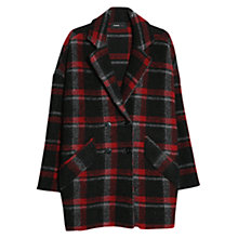Buy Mango Wool-Blend Check Coat, Black Online at johnlewis.com