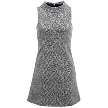 Buy Miss Selfridge Jacquard A-Line Dress, Silver Online at johnlewis.com