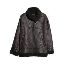 Buy Mango Faux Shearling Coat, Black Online at johnlewis.com