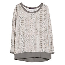 Buy Violeta by Mango Contrast Snake Print Blouse, Dark Brown Online at johnlewis.com
