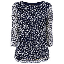 Buy Phase Eight Madeline Mesh Top, Navy / Ivory Online at johnlewis.com