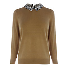 Buy Warehouse Animal Collar Knit Jumper, Camel Online at johnlewis.com