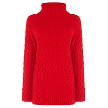 Buy Warehouse Long Roll Neck Cable Knit Jumper, Bright Red Online at johnlewis.com