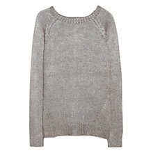 Buy Mango Button Detail Metallic Knitted Sweater, Dark Grey Online at johnlewis.com
