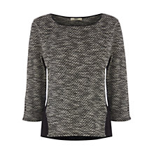 Buy Oasis Tweed Insert Sweatshirt, Black/White Online at johnlewis.com
