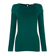 Buy Oasis Lace Shoulder Crew Top, Mid Green Online at johnlewis.com