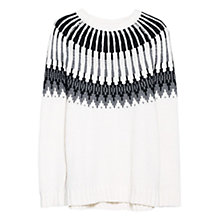 Buy Mango Jacquard Cotton & Wool Blend Sweater, Natural White Online at johnlewis.com