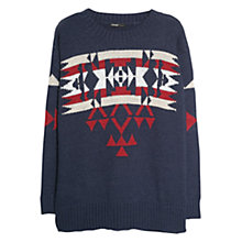 Buy Mango Ethnic Patterned Knitted Sweater, Navy Online at johnlewis.com