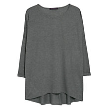 Buy Violeta by Mango Silk Blend Asymmetric Hem T-Shirt, Medium Grey Online at johnlewis.com