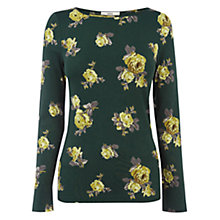 Buy Oasis Scattered Rose Print Crew Top, Mid Green Online at johnlewis.com