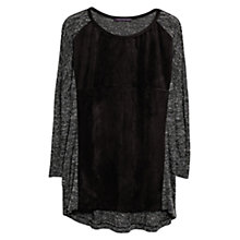 Buy Violeta by Mango Suede Panel T-Shirt, Dark Grey Online at johnlewis.com