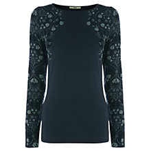 Buy Oasis Folk Tile Placement Crew Top, Multi/Black Online at johnlewis.com
