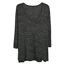Buy Violeta by Mango Flecked Elbow Patch T-Shirt, Dark Grey Online at johnlewis.com