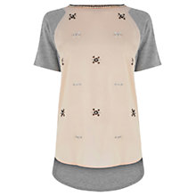 Buy Warehouse Embellished Cluster Woven Front Tee, Light Pink Online at johnlewis.com